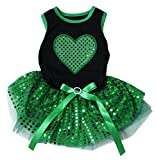 Cheap Puppy Clothes Dog Dress St Patrick's Day Green Heart Black Top Sequin Tutu (X-Small)