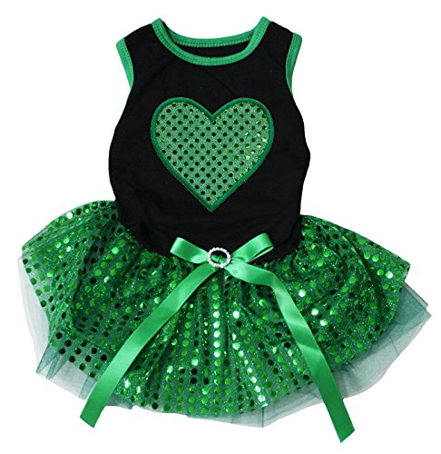 Puppy Clothes Dog Dress St Patrick's Day Green Heart Black Top Sequin Tutu (X-Small)