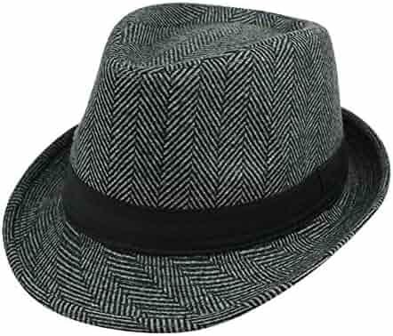 1f56ecd5ba2bb Summerwhisper Women s Men s Chevron Wool Fedora Trilby Hat Cap Unisex