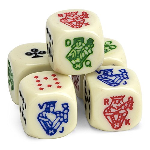 (Set of 5 Poker Dice, Great for Travel by Brybelly)