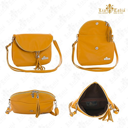 Tan Mini LIATALIA Shoulder Soft Cross Real Leather Body Trim Size Italian Small Bag Messenger Black AMY BA6UqB