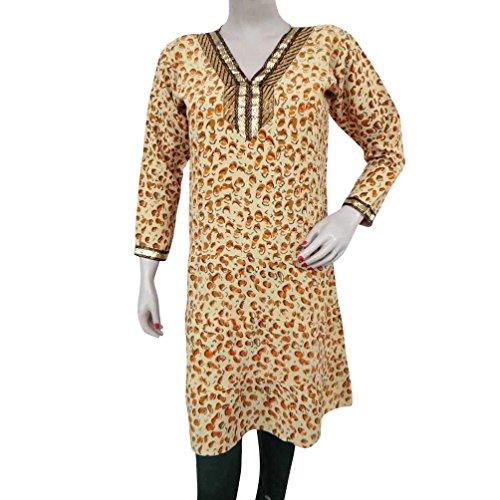 Beige Georgette Kurti Abstract Pattern Summer Beach Wear Dress With Defect Sz M