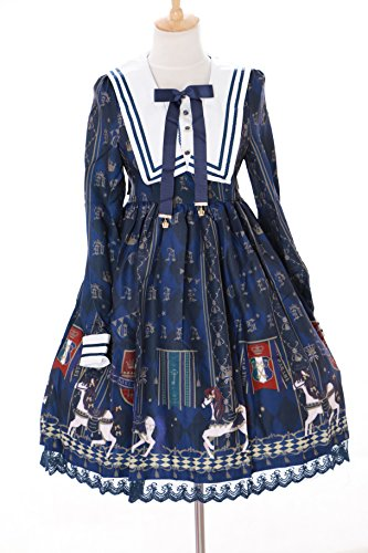 Royal Karussel 2 14 L Lolita dress JSK Size Kawaii Japan Dunkel Story Pastel Gothic Pferd Cosplay Kleid Blau Wn4FxAw1x