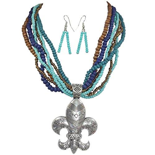 Gypsy Jewels Tribal Print Fleur De Lis On Brown & Blue Multi Row Necklace & Earrings Set