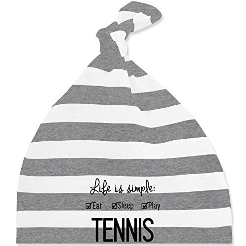 Sport Baby - Life is simple Tennis - Unisize - Grau meliert/Weiß - BZ15S - gestreifte Baby Mütze mit Knoten / Bommel für Jungen und Mädchen