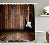 Popstar Party Shower Curtain by Ambesonne, Electric Guitar in the Wooden Room Country House Interior Music Theme, Fabric Bathroom Decor Set with Hooks, 70 Inches, Brown Black White