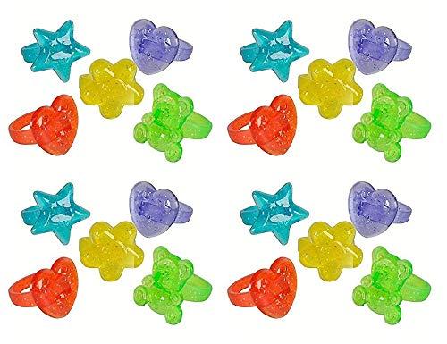 Neliblu Bulk Pack Glitter Rings 1 Gross 144 Rings Party Favors, Cupcake Toppers, Goody Bag Fillers Bulk Toys ()