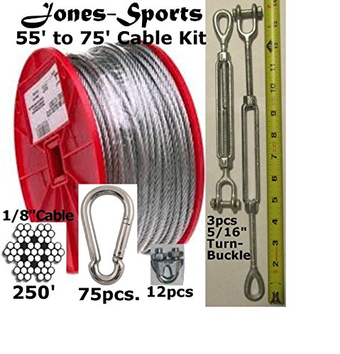 Medium Duty 70' Indoor/Outdoor Cable Kit for Baseball Softball Batting Cage Net With 5/16'' Turnbuckles, 1/8'' Cable Clamps, and Zinc Carabiners by Pinnon Hatch Farms/ Jones Sports