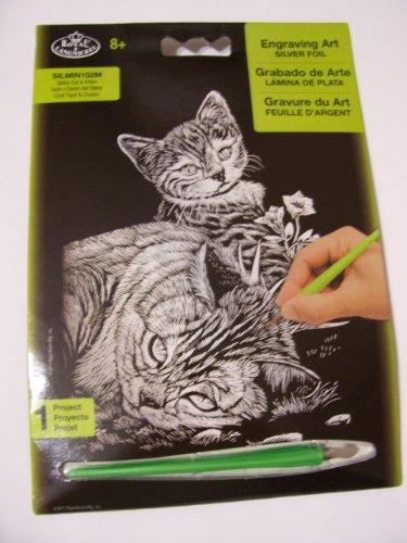 Royal & Langnickel Engraving Art Silver Foil ~ Tabby Cat & Kitten by Royal & Langnickel