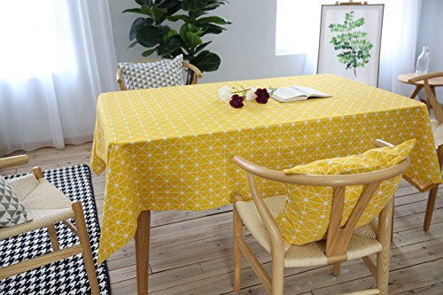 Kingmerlina Cotton Linen Rectangle Checkerboard Country Style Tablecloth Polyester (Folding Table Square Checkerboard)