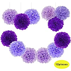 "Jesipi Lavender Purple Lilac Tissue Paper Pompoms Wedding Decoration Hanging Party Supplies in 3"" 4"" 6"" 8"" 10"" (Pack of 12) (10"")"