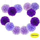 Jesipi Lavender Purple Lilac Tissue Paper Pompoms Wedding Decoration Hanging Party Supplies in 3'' 4'' 6'' 8'' 10'' (Pack of 12) (8'')