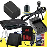 NP-FV100 Lithium Ion Replacement Battery w/Charger + 16GB SDHC Memory Card + Mini HDMI + Tripod + Memory Card Reader/Wallet + Deluxe Starter Kit for Sony NEXVG10, NEXVG20 Interchangeable Lens HD Handycam Camcorder DavisMAX Accessory Bundle