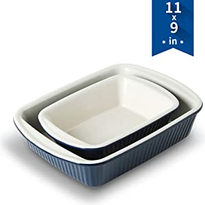 KOOV Bakeware Set, Ceramic Baking Dish, Rectangular Baking Pans for Cooking, Cake Dinner, Kitchen, Banquet and Daily Use, 11 x 9 Inches, 2-Piece (Dark Blue)