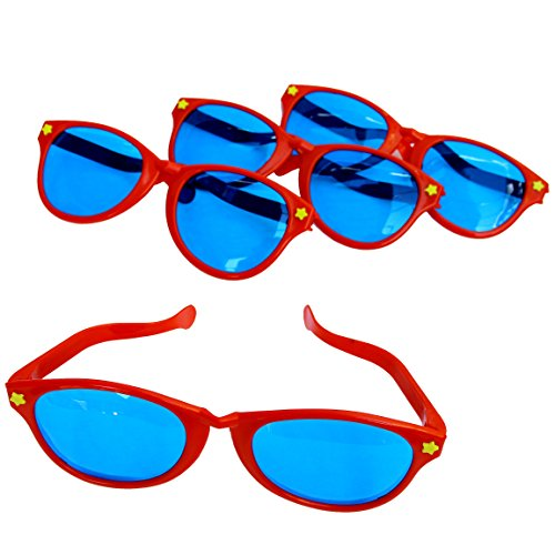 Price comparison product image Dazzling Toys Plastic Jumbo Blue Lens Sunglasses for Costumes or Photo Booth Props