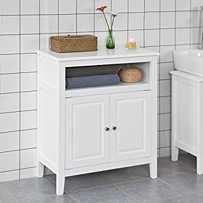 Haotian White Floor Standing Tall Bathroom Storage Cabinet with Drawers,Linen Tower Bath Cabinet, Cabinet with Shelf(FRG204-W) - White Bathroom Storage Cabinet is perfect for your modern or traditional decor. It has double door with internal adjustable shelf. Sturdy and practical. Material/Finish: MDF/White. Dimensions: W69 x D33 x H80cm. - shelves-cabinets, bathroom-fixtures-hardware, bathroom - 51px3iVJvtL. SS400  -