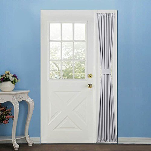 Elegance Blackout Sidelight panel curtains 25W by 72L Inches-Side lights front door curtain/panel-Grey(25x72) (Front Door Curtain Panel)