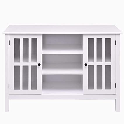 White Wood Storage Organizer Console Cabinet Room TV Stand Holder Mount  Entertainment Media Center Storage (
