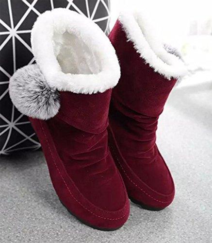 KUKI Damenschuhe, Damenstiefel, Schneeschuhe, Stiefel, flach mit, erhöht innerhalb der Studentenschuhe, plus Kaschmir, Verdickung, matt, Baumwollschuhe, wild, lässig, Mode wine red