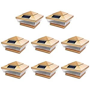 8 Pack Copper Outdoor Garden 4 x 4 Solar 5-LED Post Deck Cap Square Fence Light Landscape Lamp PVC Vinyl Wood Bronze