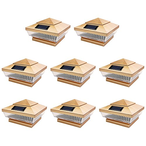 8 Pack Copper Outdoor Garden 4 x 4 Solar 5-LED Post Deck Cap Square Fence Light Landscape Lamp PVC Vinyl Wood Bronze by iGlow