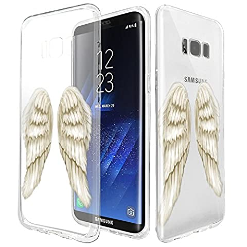 TPU Case For Samsung S8, Rubber Transparent Clear Back Thin Lightweight Printed Protection Cover Case ,Beautiful Angel Wings Customized Design Rubber Silicone Skin Cover Samsung Galaxy S8 (Wing Phone Covers)