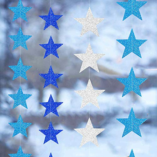 4 Sets/52 Feet Blue & Silver Star Garland Kit, Metallic Shiny Star and Twinkle Glittery Star Garland Combo, Hanging Decorations/Backdrops for Wedding, Birthday, Baby Shower ()