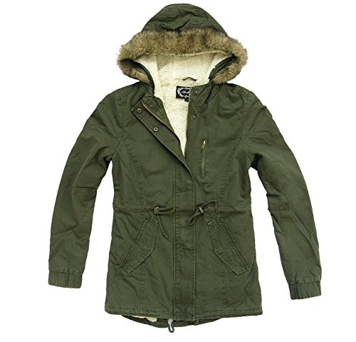 Ambiance Women's Military Army Hooded Sherpa Lining Drawstring Parka Jacket Coat (Medium) by Ambiance