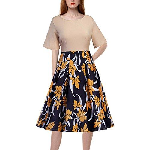 Lelili-Dress Women Dress ,Lelili Printed Patchwork Half Swing A-Line Dress