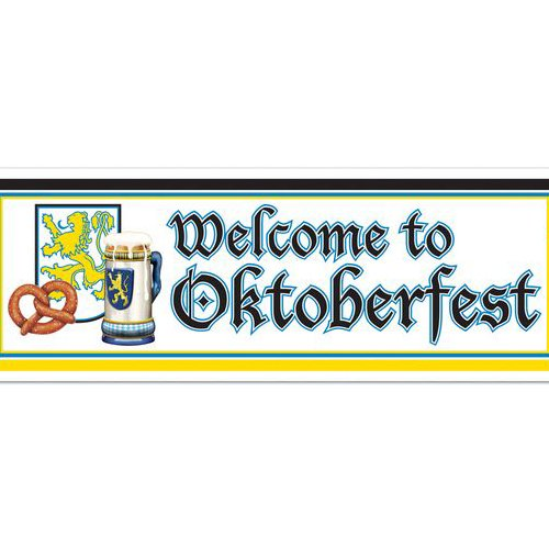 Welcome Oktoberfest Sign Banner Party Accessory (1 Count) (1/pkg) Pkg/3