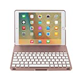 7 Color Backlight Aluminum Bluetooth Wireless Keyboard Smart Folio Case Cover For iPad Pro 9.7 Inch / iPad Air 2 (Rose gold)