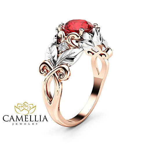 Natural Ruby Engagement Ring 14K Two Tone Gold Leaf Ring Gemstone Ring ()