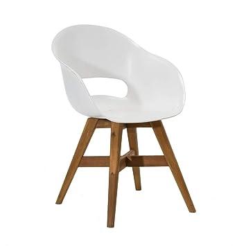 Top Amazon.de: Pureday Gartenstuhl Kunststoff Sitzschale Weiß Holz IC18