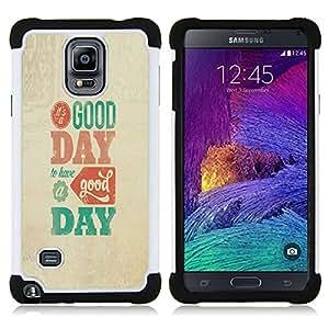 For Samsung Galaxy Note 4 SM-N910 N910 - Good Day Modern Text Poster Beige Teal /[Hybrid 3 en 1 Impacto resistente a prueba de golpes de protecci????n] de silicona y pl????stico Def/ - Super Marley Shop