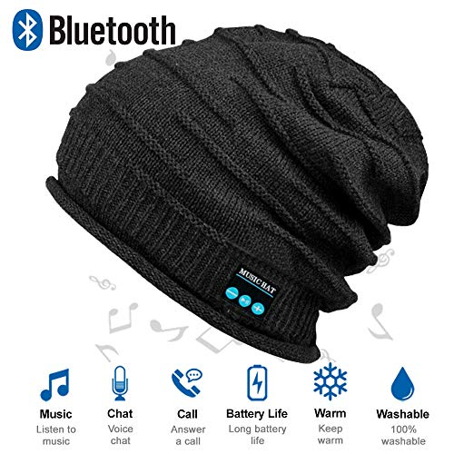 Upgraded Wireless Bluetooth Beanie Hat with Headphones V5.0, Unique Christmas Tech Gifts for Teen Boys/Girls/Boyfriend/Him/Husband/Men/Dad/Women/ Stocking Stuffers/Built-in HD Stereo Speakers & Mic (Good Best Friend Christmas Gift Ideas)