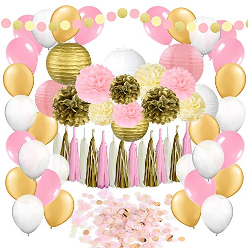 62 pc Party Supplies Kit: Pink, Ivory & Gold Decorations for Birthdays, Bachelorette, Engagement, Bridal & Baby Showers –Pom Poms, Lanterns, Latex Balloons, Tassels, Confetti & Garland for Women