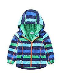 umkaumka Warm Windbreaker Jacket for Kids Fleece Lined Hoodie 2-7T