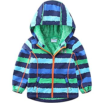 umkaumka Warm Windbreaker Jacket for Kids Fleece Lined Hoodie 18M-7T (18 Months)