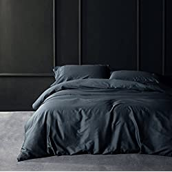 Solid Color Egyptian Cotton Duvet Cover Luxury Bedding Set High Thread Count Long Staple Sateen Weave Silky Soft Breathable Pima Quality Bed Linen (Queen, Dark Slate)
