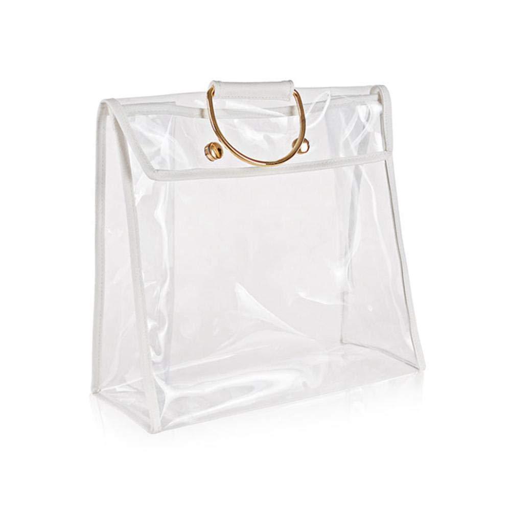 MOGOI クリアトートバッグ 透明ハンドバッグ シースルー ビーチバッグ メイクアップバッグ 財布オーガナイザー 磁気スナップ&吊り下げリング付き 女性/女の子/学校/仕事用 6005998061273  33*32*15cm B07P7NSX9K
