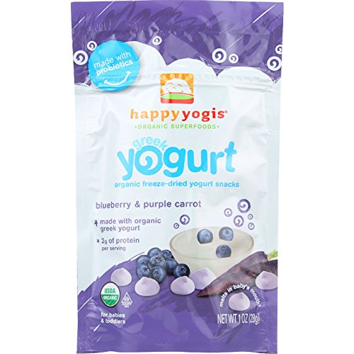 HappyYogis Yogurt Snacks - Made with Organic Greek - Babies and Toddlers - Blueberry and Purple Carrot - 1 oz - case of 8 - by Happyyogis