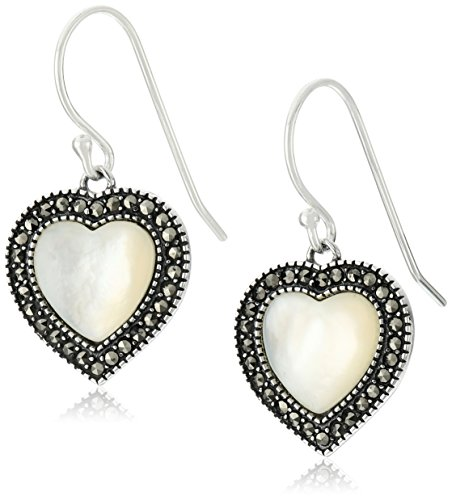 Marcasite Heart Shaped Ring - Sterling Silver Mother of Pearl and Marcasite Heart Drop Earrings