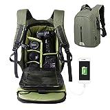 Large Capacity Camera Bag Backpack Waterproof Hiking Travel Bag SLR DSLR Camera Shoulder Bags Backpack Rucksack for Nikon Canon Fujifilm Sony Digital SLR, Mirrorless Camera(Green)