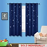 NICETOWN Die-cut Stars Blackout Curtains - Naptime Essential Nursery Window Curtain Panels for Kid's Room (1 Panel,52 x 63 Inch in Royal Blue)