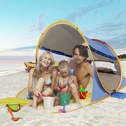 Shades Jewelry (ZOMAKE Pop Up Beach Tent XL 2-3 Person, Portable Sun Shelters Baby UV Protection (Jewelry Blue))