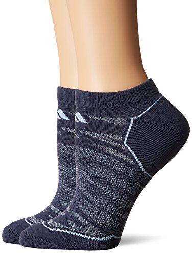adidas Womens Superlite Prime Mesh No Show Socks (2-Pack), Midnight Grey/Easy Blue/Orange, Medium