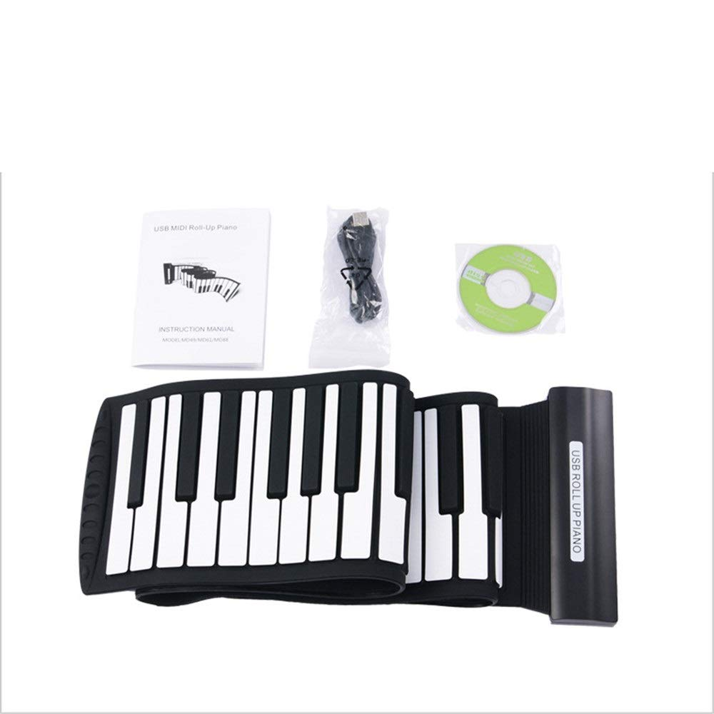 Portable Roll Up Piano Thickened USB MIDI 88 Keys Flexible Soft Silicon Electric Digital Foldable Roll Up Keyboard Piano With Recording Programming Functions Compatible With Win Xp/Vist/win 7/Max OSX