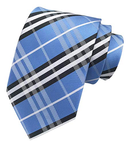 MINDENG Classic Blue Black Striped Jacquard Woven 100% Silk Men's Ties Neckties