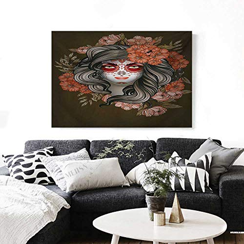 Day of The Dead Wall Paintings Spanish Woman with Festive Calavera Makeup Art and Flower Blooms Print On Canvas for Wall Decor 36