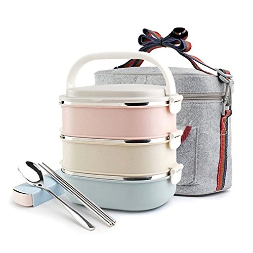 Lunch Box High Quailty Stainless Steel Bento Box Anti-leak 3-Tier Heat/cold Insulated With Lock Bag Food Container Including Flatware Set Spoon and Chopsticks For Student Adult For Travel Work Office